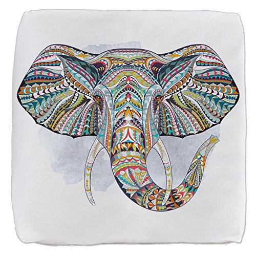 18 Inch 6-Sided Cube Ottoman Patterned Elephant by Royal Lion