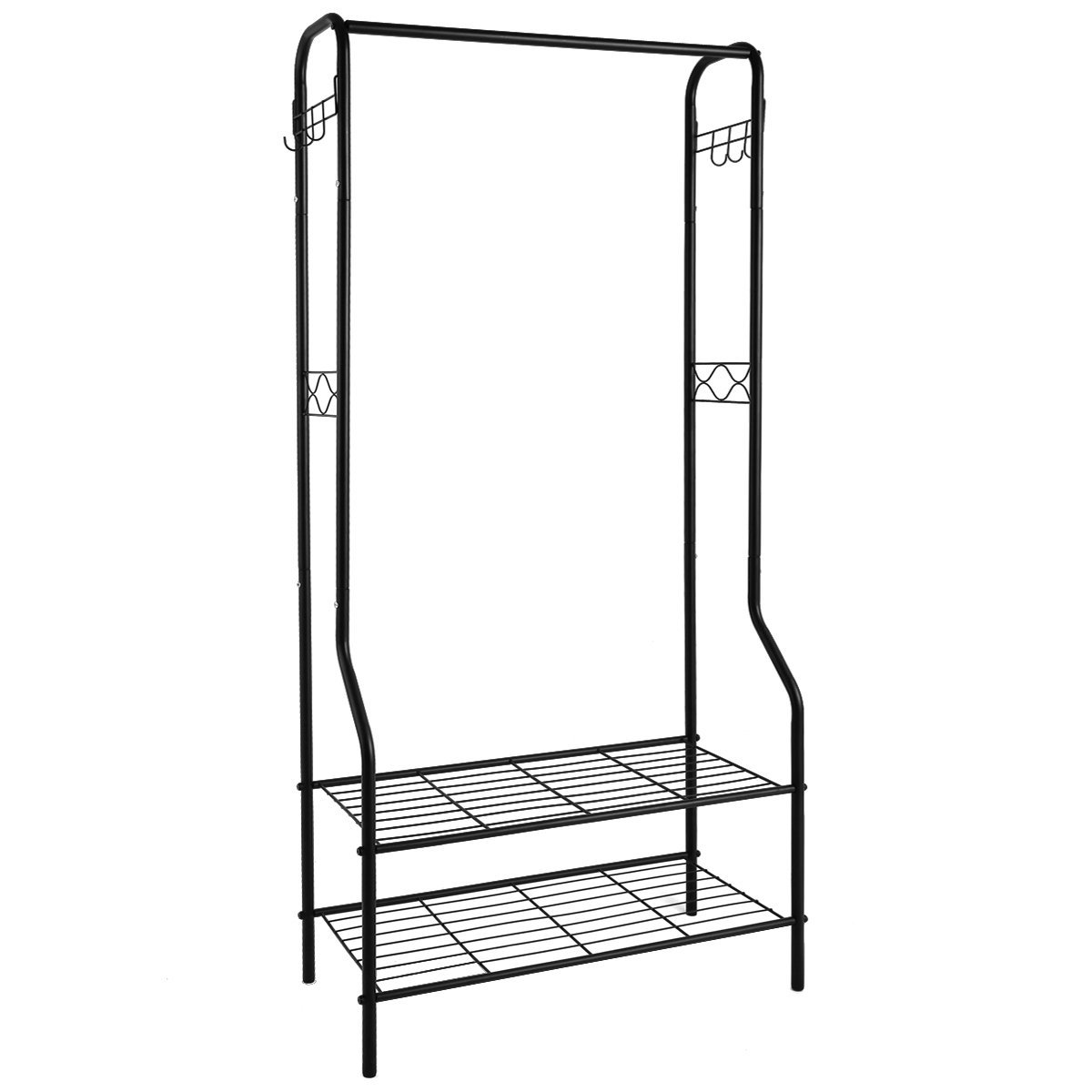 TomCare Clothes Rack Clothing Rack Garment Rack, 2-Tier Storage Shelves Shoe Bench Organizer Commercial Grade Clothes Hanging Rack with 6 Hooks Coat Rack for Home Office Entryway Bedroom Metal Black
