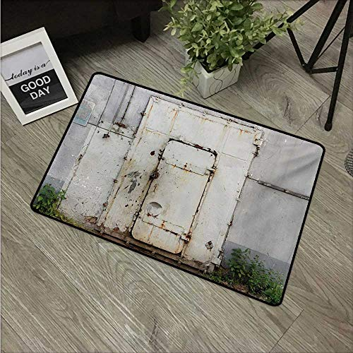 HRoomDecor Industrial,Outdoor Floor Mats Closed Worn Out Rusty Iron Door of an Abandoned Building Factory Picture W 31