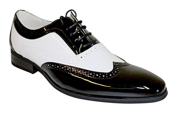 Retro Clothing for Men | Vintage Men's Fashion Mens Lace Patent Brogues Shoes Gatsby Classic 1920s Shiny White Black Red £29.90 AT vintagedancer.com