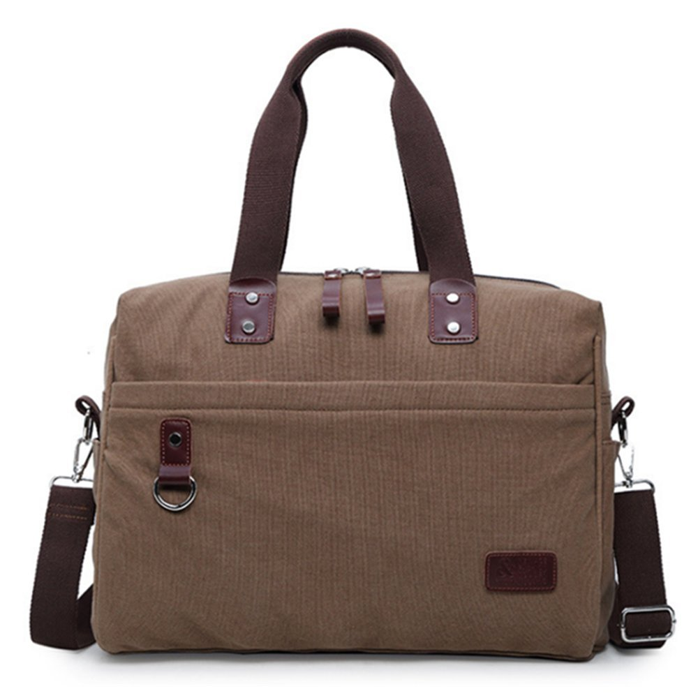 Canvas Weekender Travel Duffel Bag Unisex Leather Duffle Tote Bags for Weekend Overnight Trip (Coffee)