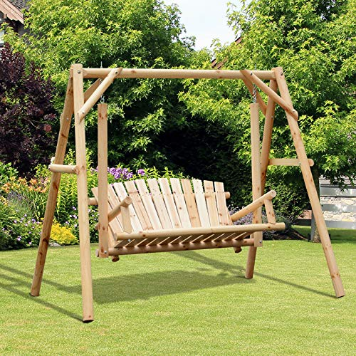 ANA Store Relaxing Rhythm Rocker with A-Stand Vintage Style Premium Natural Wood Sturdy Hanging Porch Swing Daybed Christ Chair Bench Deck Park Grass Outside Furniture