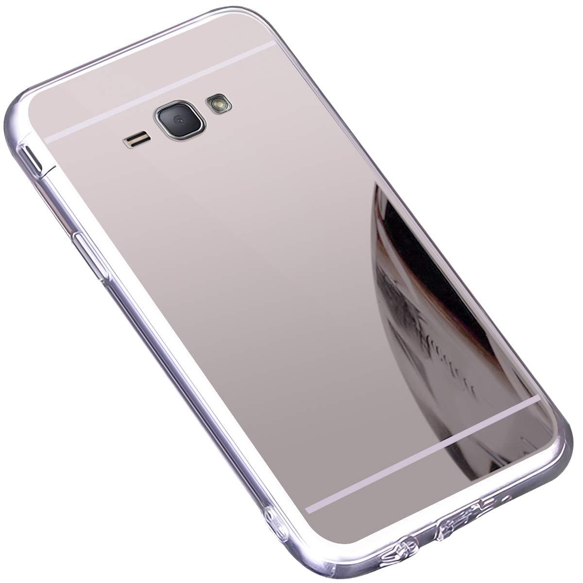 Galaxy J1 2016 Hü lle,Surakey Schutzhü lle fü r Samsung Galaxy J1 2016 Silikon Handyhü lle Spiegel Hü lle Bling Strass TPU Handyhü lle Weiche TPU Telefon-Kasten Mirror Case fü r Samsung Galaxy J1 2016, Gold ELE00160MD