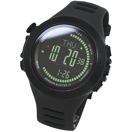 Lad Weather Reloj Altímetro Barómetro Brújula Calorías Pronóstico del Tiempo (Negro/Negro)
