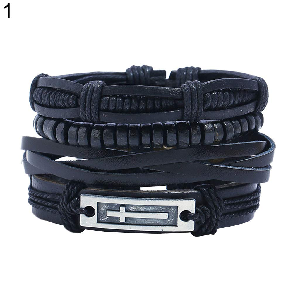 Angel3292 4Pcs/Set Multi-Layer Men Faux Leather Bracelet Adjustable Rope Wristband Jewelry