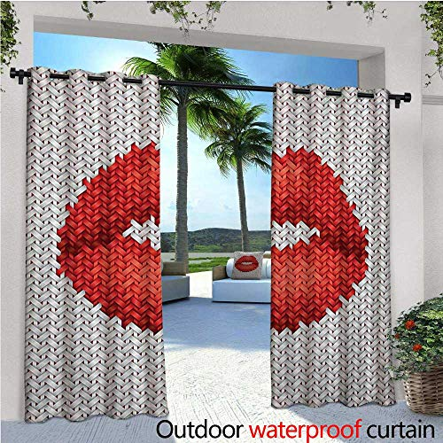 Teen Girls Balcony Curtains Lips Illustration Embroidery on Fabric Pattern Cosmetics Stylish Womanly Ornament Outdoor Patio Curtains Waterproof with Grommets W96 x L96 Red Grey ()