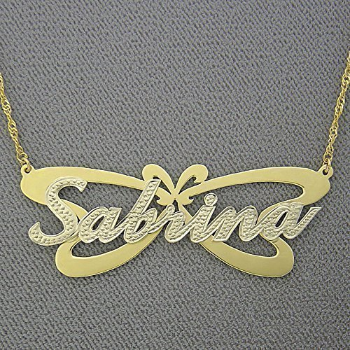 (10K Yellow Gold Butterfly Personalized Name Pendant 2 Tone Nameplate)