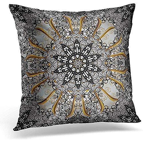 Johnnie Decorative Pillow Cover Ancient Floral Brocade Pattern Glass Metal with on Black White and Gray Colors with Golden Classic Throw Pillow Case Square Home Decor Pillowcase 18x18 Inches