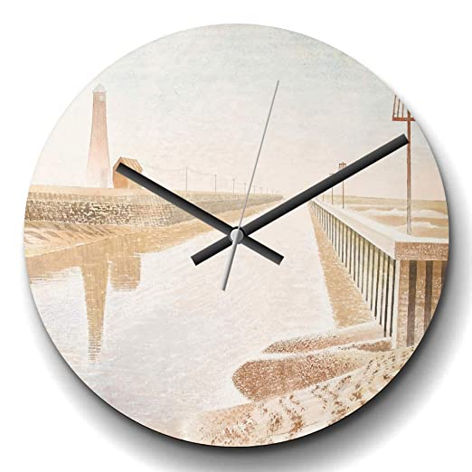 Reloj de pared redondo de cuarzo con diseño de arte de Rye ...