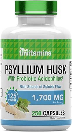 Psyllium Husk Fiber Capsules - 1700 MG - 250 Capsules - with Probiotic Acidophilus