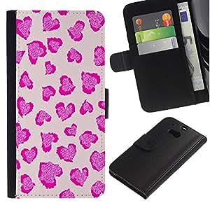 APlus Cases // HTC One M8 // Corazones rosa leopardo impresión Piel Diseño // Cuero PU Delgado caso Billetera cubierta Shell Armor Funda Case Cover Wallet Credit Card