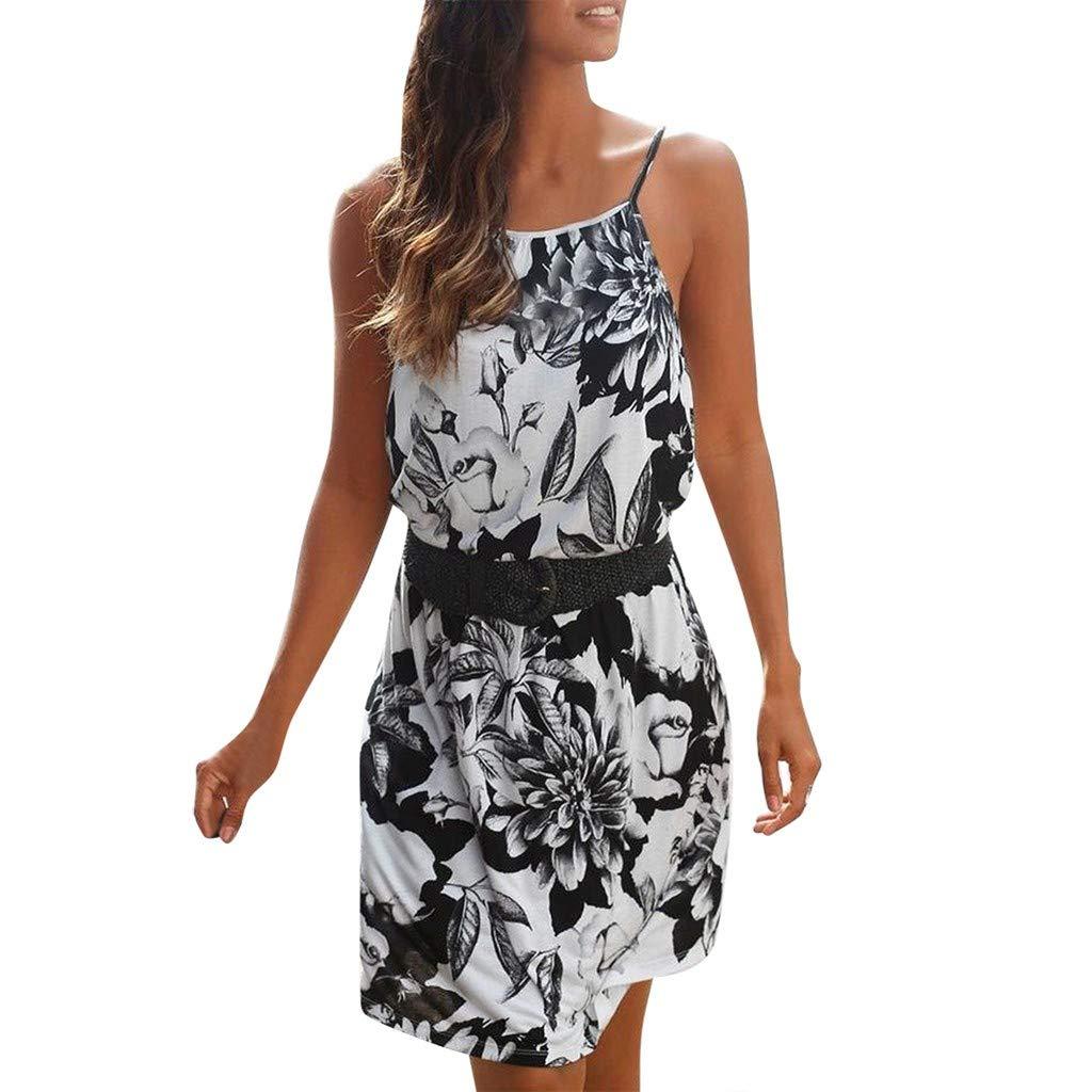 Sommerkleid Damen,Sunday Partykleid Kurze Vintage Boho Strandkleid Frauen Elegant Abendkleid Freizeit Pencil Kleid
