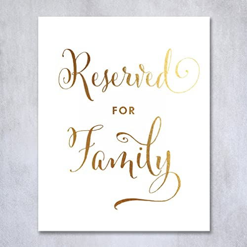 Amazon.com: Reserved for Family Gold Foil Sign Wedding Reception ...