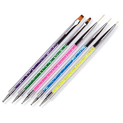 Juego de 5 pinceles de doble punta con lentejuelas brillantes para pintar y dibujar