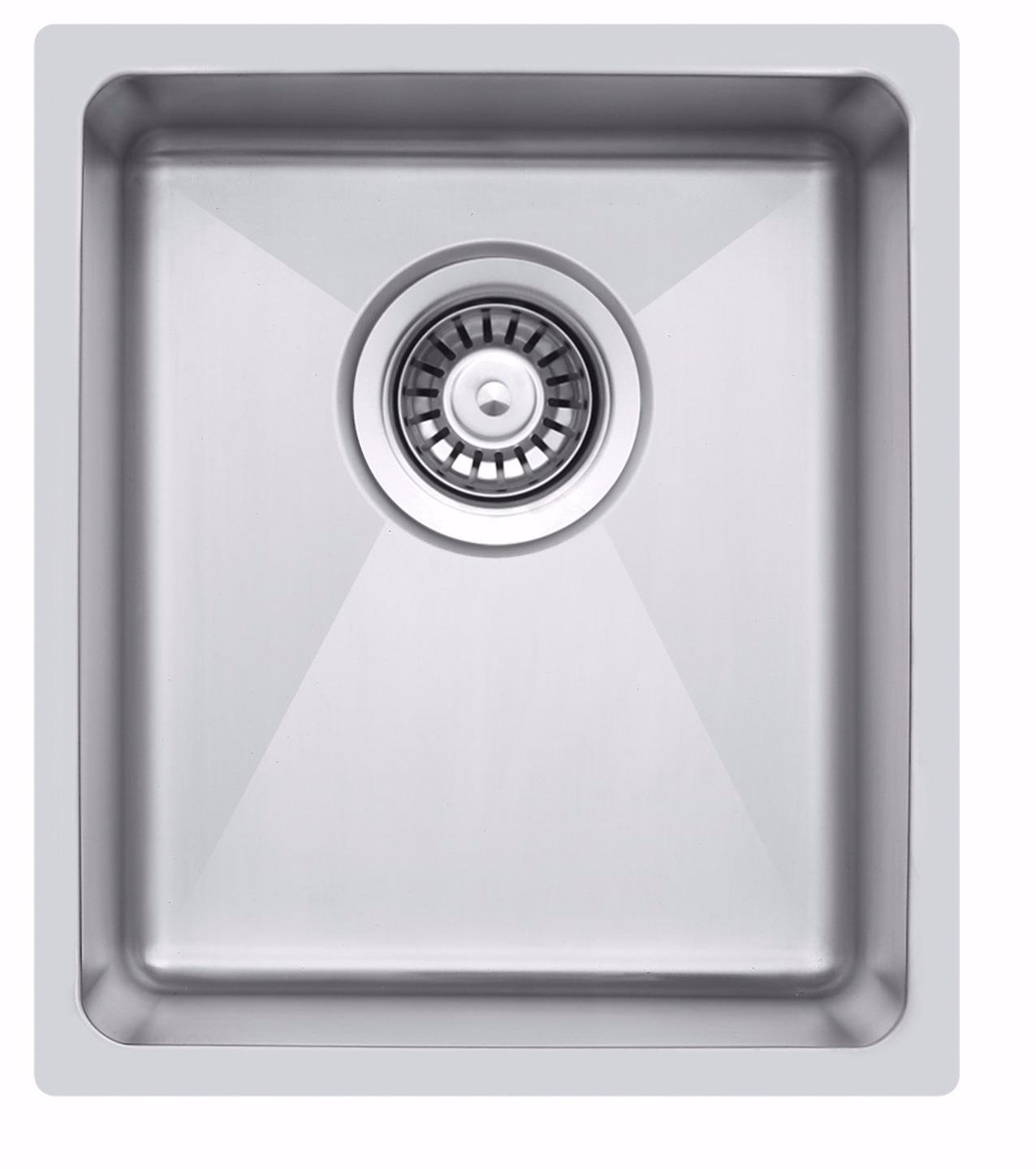 340 x 440 mm Undermount/Inset Deep Single Bowl Stainless Steel Kitchen Sink With Waste (LA016) Grand Taps
