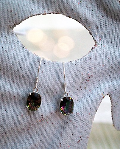 Home Comforts Framed Art for Your Wall Earrings Mystic Topaz Stone Sterling Silver Jewelry 10x13 Frame -