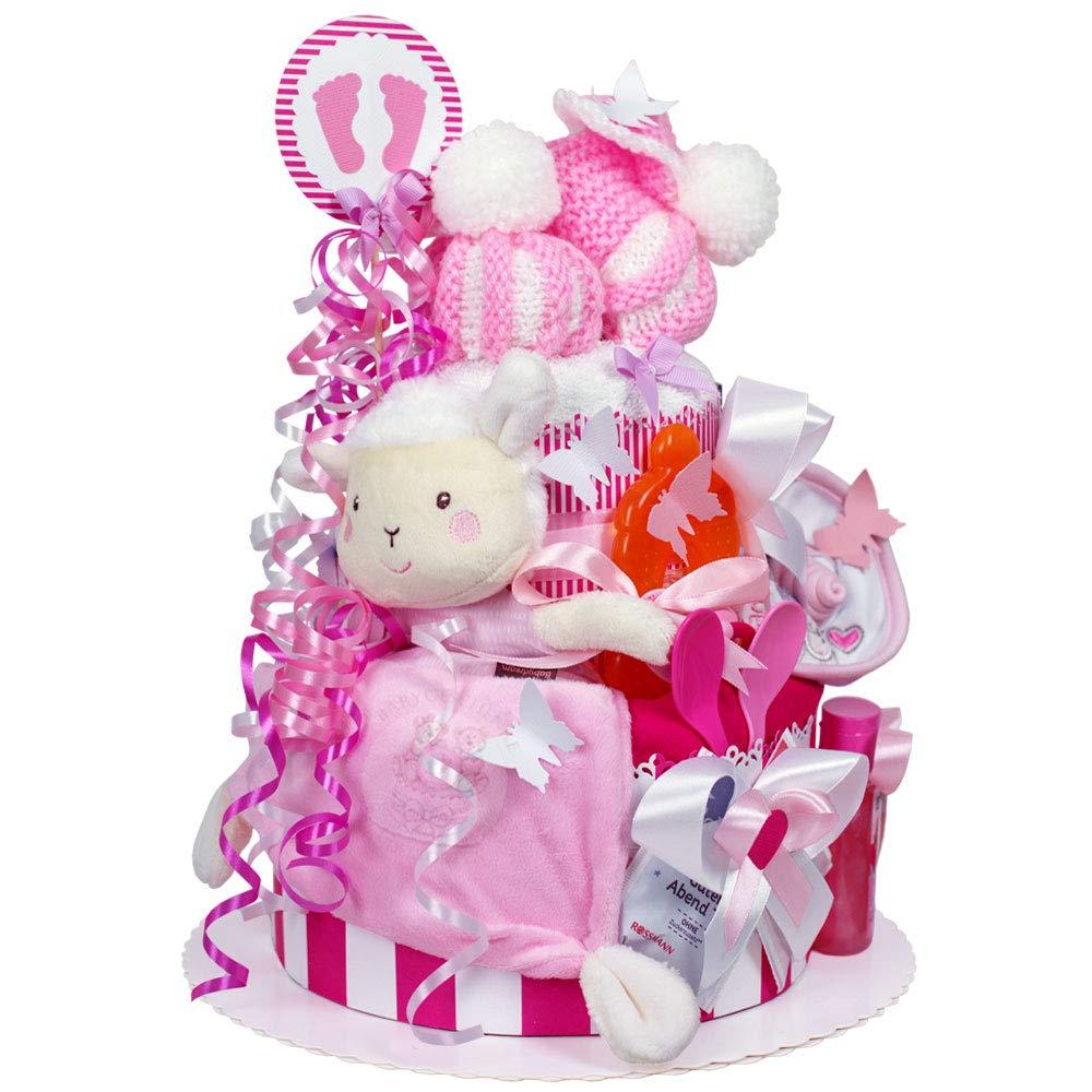 Schaf Spieluhr 1 St/öckig MomsStory mit Baby-Spielzeug L/ätzchen Schnuller /& mehr Baby-Geschenk zur Geburt Taufe Babyshower Windeltorte M/ädchen Rosa-Grau