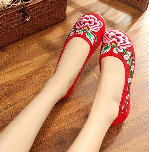 Red suola stile etnico a Scarpe DESY da scarpe casual comodo all'interno ricamate tendina moda donna dell'aumento ZwFE1naq