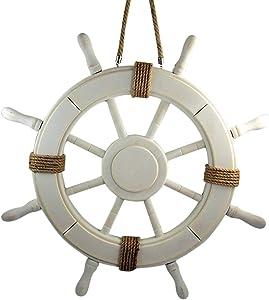 Distressed Beach Themed Home Decor Nautical White Wooden Ship Wheel Wall Decoration, 2 Feet