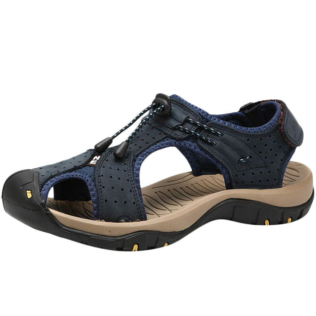 Men Sandals Casual Summer Closed Toe Outdoor Climbing Fisherman Beach Shoes (US:7.5, Blue)