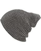 Winter Made USA 2ply Pinstripe Stretch Knit Slouch Long Beanie Ski Hat Cap