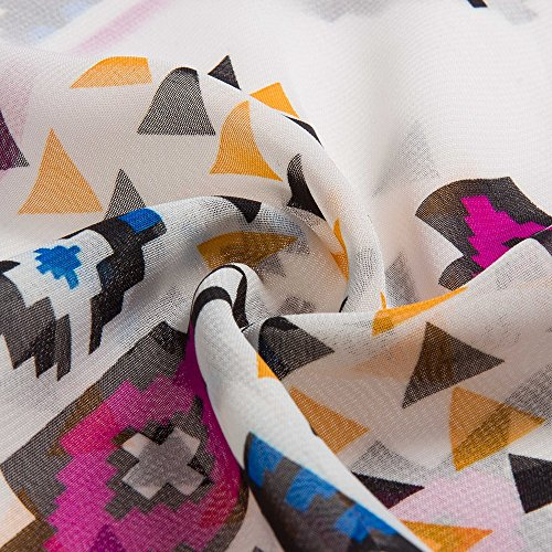 Beauty7 Blusón Blusa Falda Gasa Camisas Mujeres Vestido Playa Imprime la Rebeca Protección Solar Bikini Cubrir Vacaciones Vacación Verano Bohemia Kimono Flores Rosas Blanco Moda Elegante (XL)