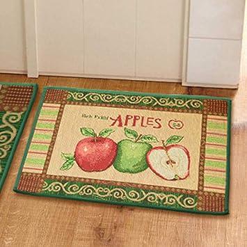 YJ Bear Red Green Apple Print Rectangle Kitchen Floor Runner Floor Mat  Entry Mat Doormat Home Decor Carpet Indoor Outdoor Area Rug 17.7\