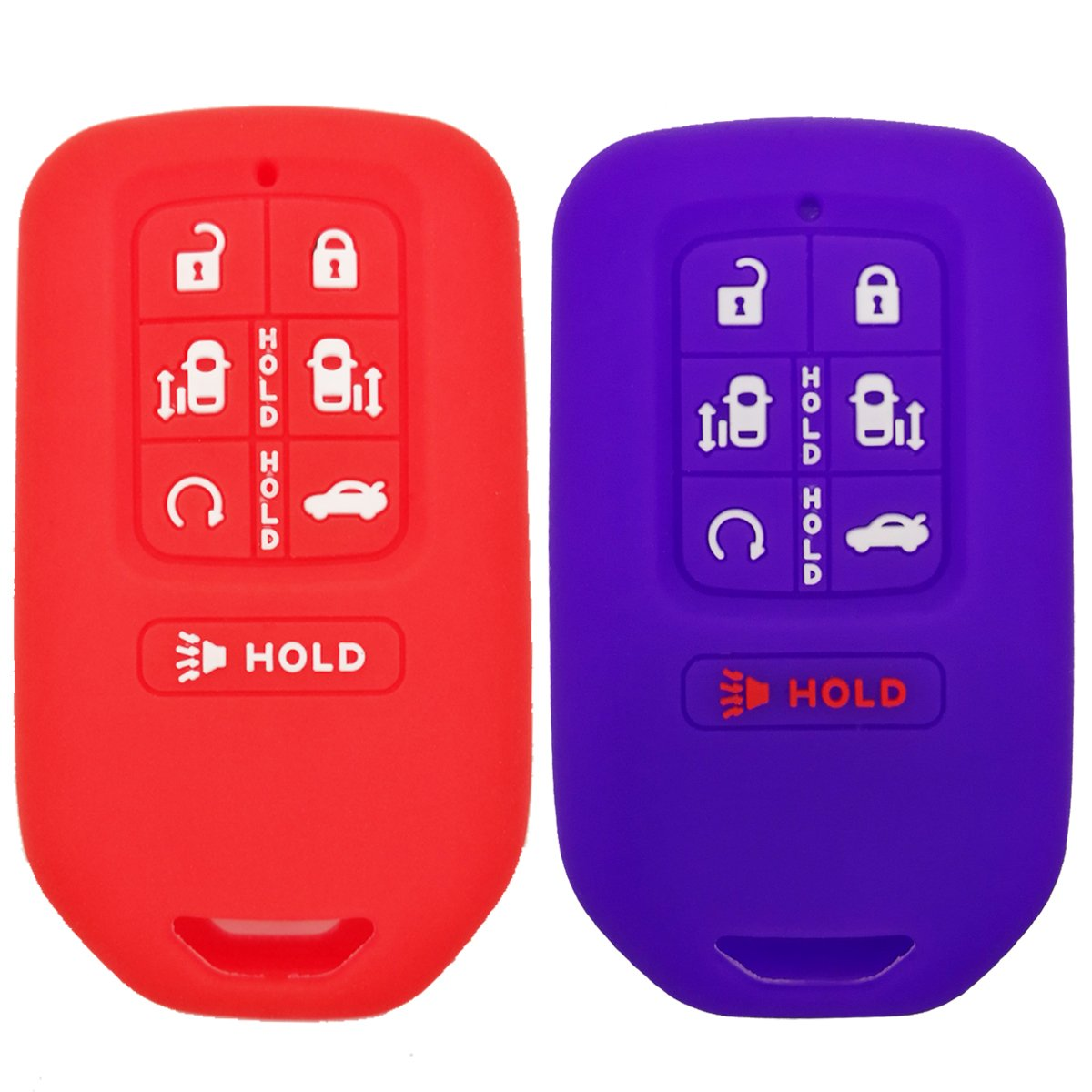 2Pcs Coolbestda Rubber Smart 7 Buttons Key Fob Remote Cover Protector Keyless Entry Holder for 2018 Honda Odyssey elite ex by Coolbestda (Image #1)