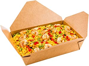 Bio Tek 49 Ounce Paper Take Out Boxes, 200 Greaseproof Take Out Food Containers - Tab Lock Closure, Microwave-Safe, Kraft Paper Take Out Boxes, Hot and Cold Foods, Recyclable - Restaurantware