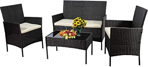 4 Pieces Outdoor Patio Furniture Sets Rattan Chair Wicker Rattan Sectional Conversation Sofa