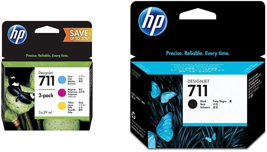 Hewlett Packard P2V32A Cartucho de tinta + CZ133A 711 Cartucho de Tinta Original, 1 unidad, negro: Amazon.es: Oficina y papelería