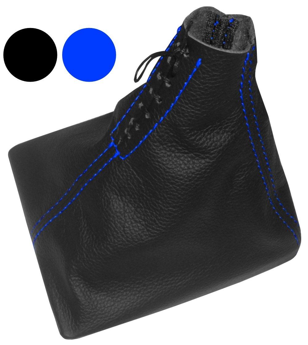 AERZETIX Funda para palanca de cambios 100/% Piel genuina negro con costuras de color azul