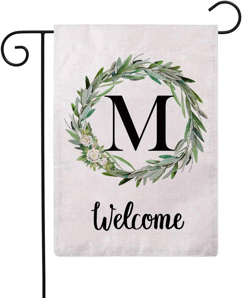 ULOVE LOVE YOURSELF Welcome Decorative Garden Flags with Letter M/Olive Wreath Double Sided House Yard Patio Outdoor Garden Flags Small Garden Flag 12.5×18 Inch