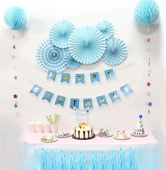 Kit Anniversaire Garçon Happy Birthday Decoration Bleu Avec Rosace