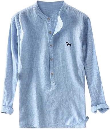 Camisa Hombre Cuello mandarín Camisas de Lino Manga Larga Slim Fit Camisa Casual Tradicional China Marca Ropa de Verano Camisa Masculina: Amazon.es: Ropa y accesorios