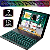 iPad Keyboard Case for iPad Pro 10.5 inch - wireless Backlit Quiet Keyboard - Ultrathin Aluminum Folio Cover - 7 Color Backlight - Auto Sleep Wake - Apple Tablet A1701 A1709 (Black, 10.5'')