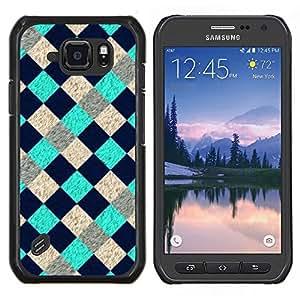 EJOOY---Cubierta de la caja de protección para la piel dura ** Samsung Galaxy S6Active Active G890A ** --Patrón de Tourquise azul a cuadros