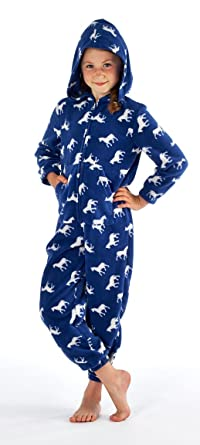 Girls Onesie Micro Fleece Kids Hooded Zipped Horse Animal Pattern All In  One Suit cfd9ab793