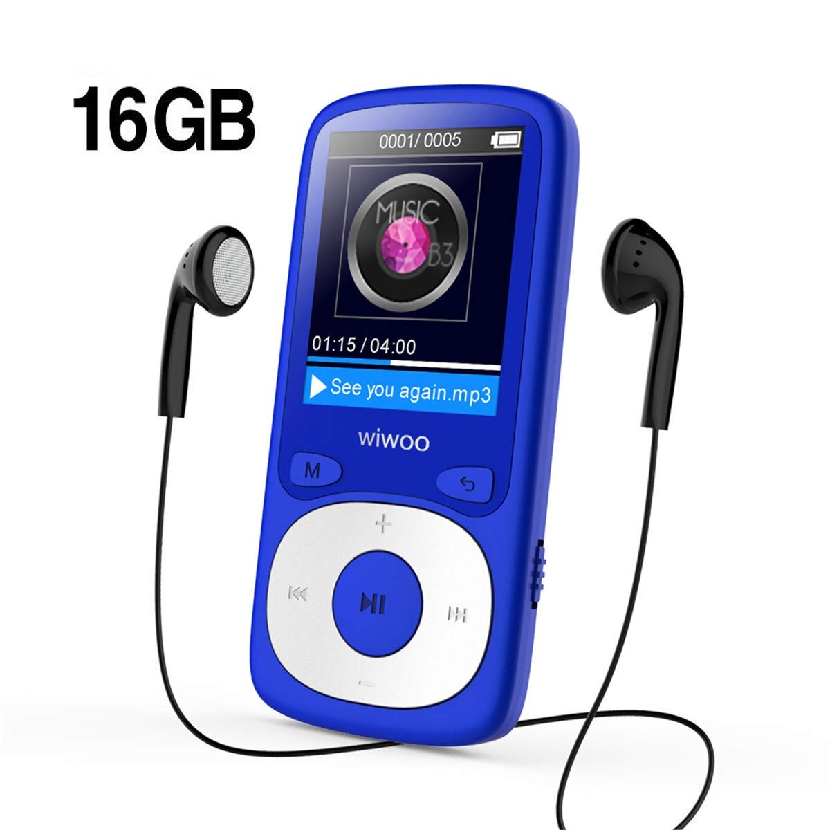 Wiwoo MP3 Player, 16GB Digital Audio Music Player with Radio/Voice  Recording, Come with Earphone Armband, Expandable Up to 64GB