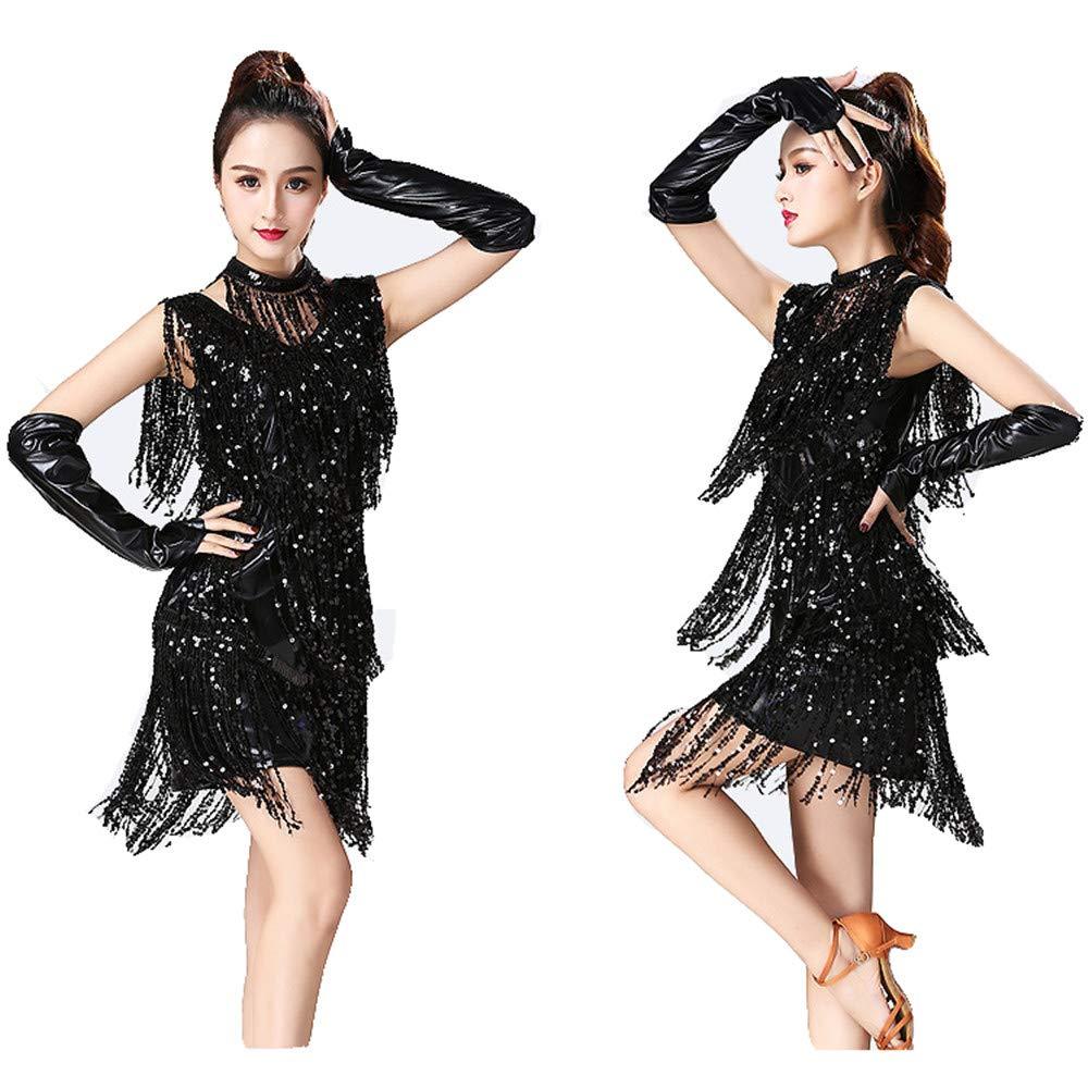 Frauen Latin Dance Dress Dress Dress Frauen Dancewear Metallic Pailletten Fransen Quasten Ballsaal Samba Tango Latin Dance Kleid mit Handärmeln Halskette Wettbewerb Kostüme Frauen Performance Kleid Kostüme B07MJ4YWZR Bekleidung Neuartiges Design 6f2f86