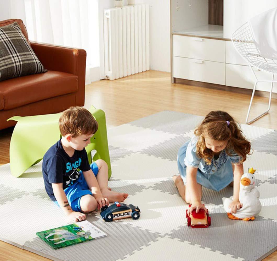 QXMEI Stitching High Elastic Foam Pad Puzzle Mat Children's Mat Crawling Mat Baby Bedroom Slip,Beige+Gray by QXMEI (Image #6)