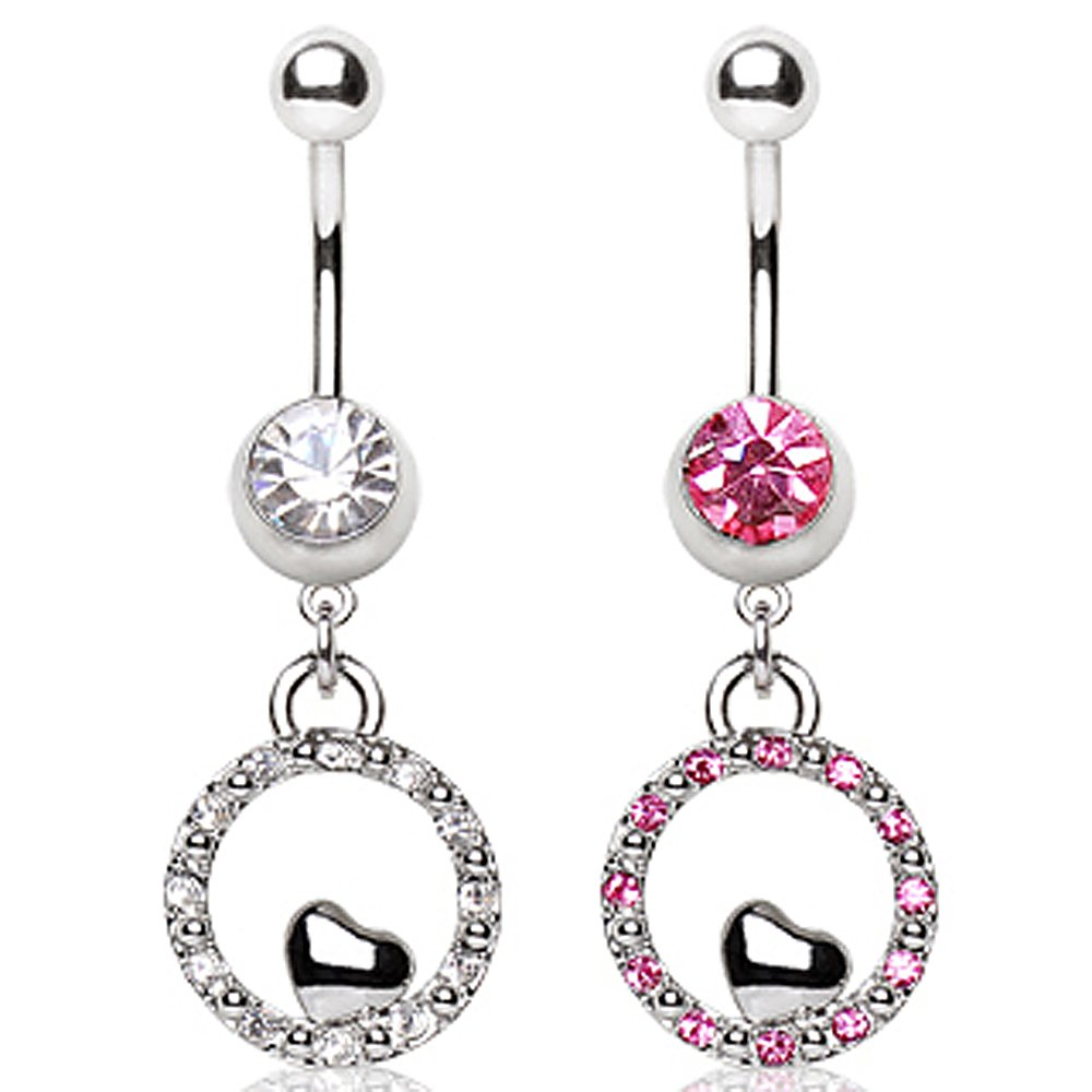 Sold Individually 316L Surgical Steel Navel Ring with Round and Small Heart Shaped Dangle 14GA L:3//8