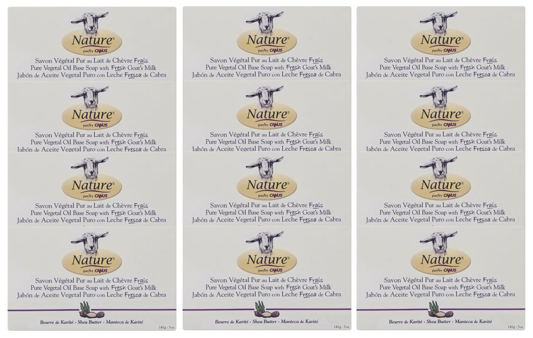 Nature By Canus Vegetable Bar Soap Skin Care Goat's Milk Soaps Shea Butter - Bar Soaps 5 Oz. (Pack of 12)