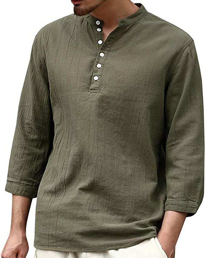 VITryst-Men Button Down Slim-Fit Summer Solid Colored Half Sleeve T-Shirts