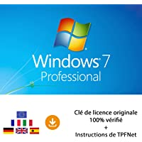 MS Windows 7 Pro 32 Bits & 64 Bits - Clé de Licence Originale par Postale et E-Mail + Instructions de TPFNet® - Livraison Maximum 60min