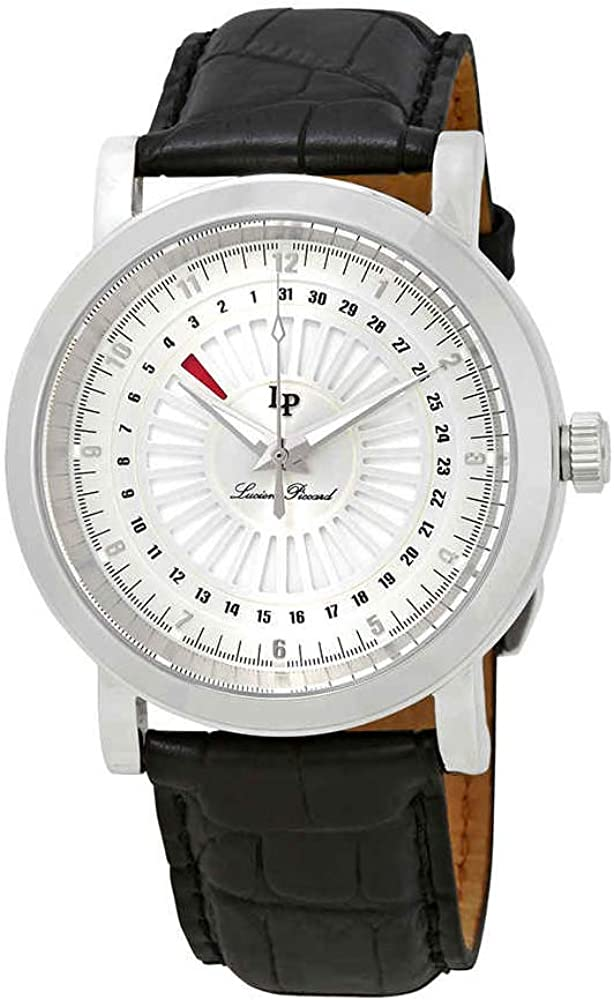 Lucien Piccard Men s Ruleta Quartz Stainless Steel and Black Leather Casual Watch Model LP-40014-02S