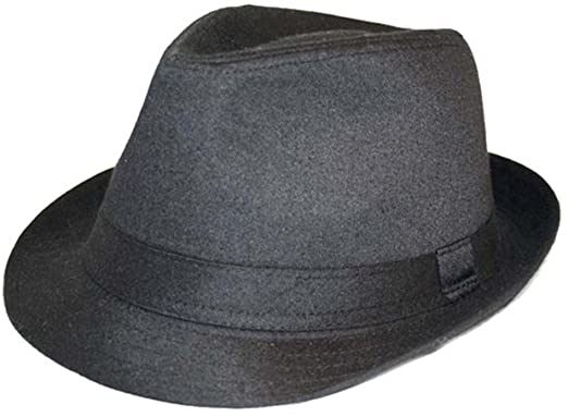 Hawkins plain black cotton trilby hat