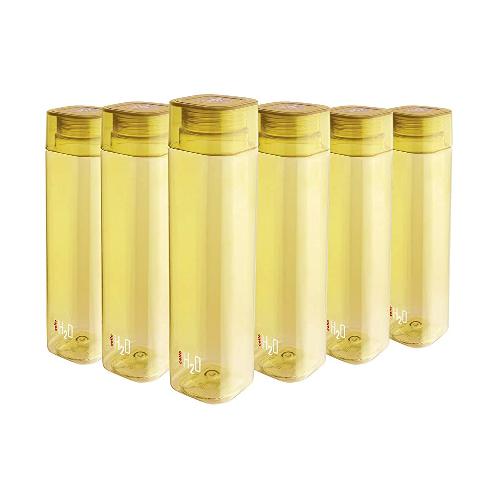 Cello H2O Squaremate Plastic Water Bottle, 1-Liter, Set of 6, Yellow