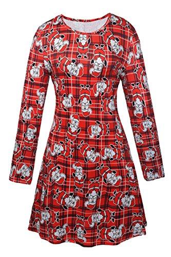 LaSuiveur Women White And Red Santa Claus Print Long Sleeve Shift Dress,XXL -