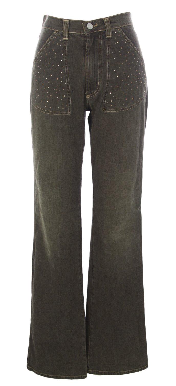 NOYES Women's Rhinestones Wide Leg Jeans, 44, Dark Brown by YESNO (Image #1)